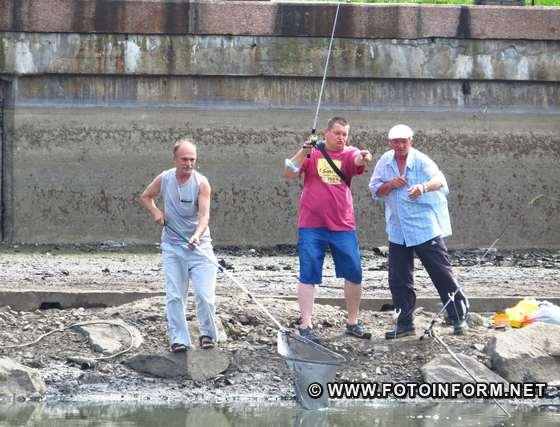 У Кропивницькому містяни ловлять рибу у великій калюжі