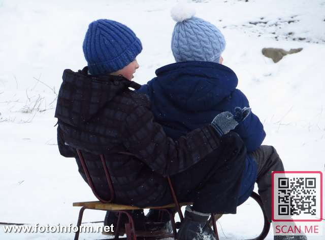 Cніг та санчата, по-справжньому зимовий Кропивницький, фоторепортаж