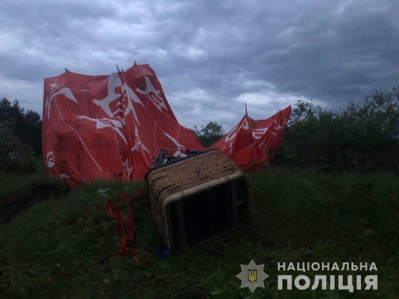 На Хмельниччині поліція відкрила кримінальне провадження за фактом падіння повітряної кулі з людьми на борту