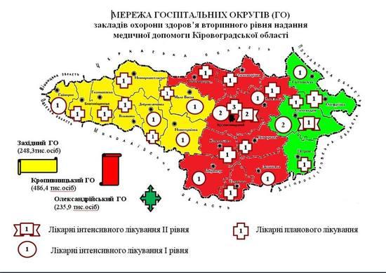 Про затвердження переліку та складу медичних округів Кіровоградської області йдеться в урядовому розпорядженні від 12 липня 2017 року (http://www.kmu.gov.ua/control/uk/cardnpd?docid=250138559).