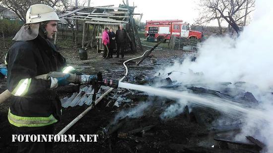 24 квітня о 18:39 до Служби порятунку «101» надійшло повідомлення про пожежу на території приватного домоволодіння на вул. Весела с. Зелений Барвінок Олександрійського району.