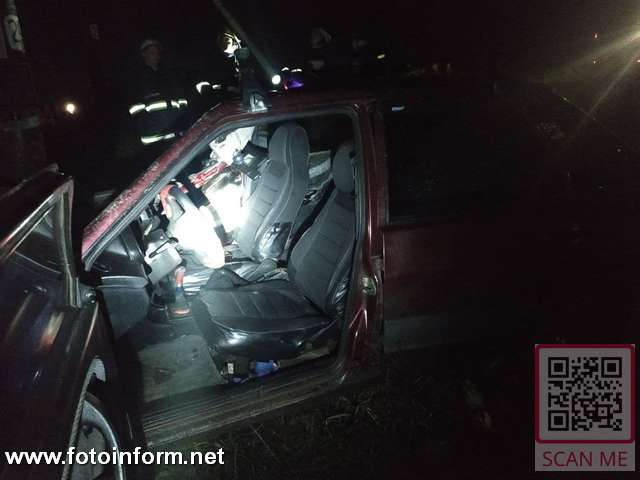 ДТП на Кіровоградщині, Водій легковика врізався у стовп