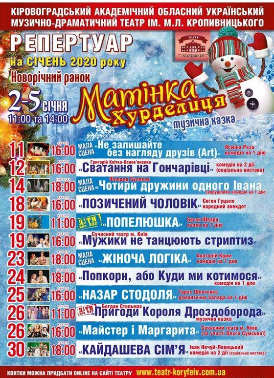 Репертуар Театру Корифеїв на січень