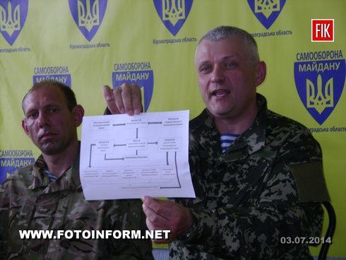Сегодня, 3 июля, в помещении формирования «Самообороны Майдана» состоялась пресс-конференция, во время которой были обсуждены проблемы жизни военных в зоне АТО и вопрос, связанный с губернатором Кировоградской области.