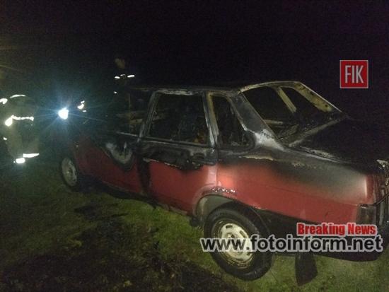 9 жовтня о 22:21 до Служби порятунку «101» надійшло повідомлення про пожежу автомобіля ВАЗ-21099 на вул. Центральній с. Тишківка Добровеличківського району.