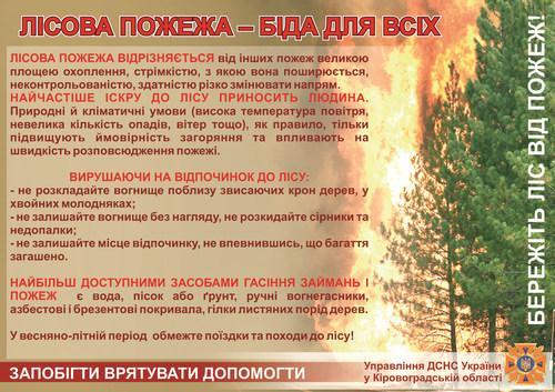 За прогнозами Укргідрометцентру, найближчим часом в Україні переважатиме тепла, посушлива погода. Таким чином на значній території держави рівень пожежної небезпеки сягне максимальних позначок - 4-5 класу.