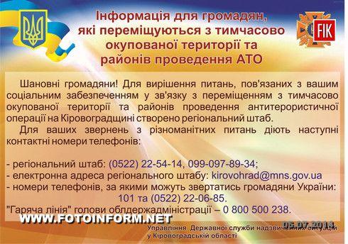 Кіровоград: Контактні телефони для пересенців