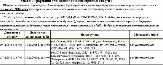 Адміністрація Кіровоградського міського району електричних мереж повідомляє, що у листопаді 2016 року буде проведено комплекс планових технічних заходів, направлених на покращення якості електропостачання.