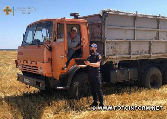 16 липня рятувальники ГУ ДСНС в області побували на полях сільгосппідприємств, агрофірм та фермерських господарств Новгородської, Новоукраїнської та Олександрівської територіальних громад, де нагадали аграріям про необхідність подбати про захист врожаю від вогню.